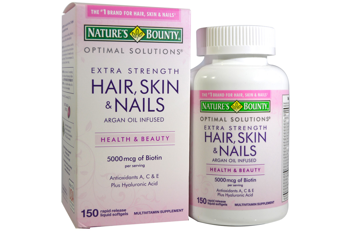 Комплекс Optimal Solutions, Hair, Skin & Nails, Extra Strength от Nature's Bounty