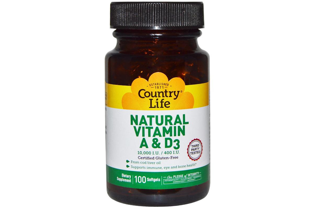 Country Life, Натуральные витамины A и D3, 10 000 МЕ/400 МЕ (100 желатиновых капсул