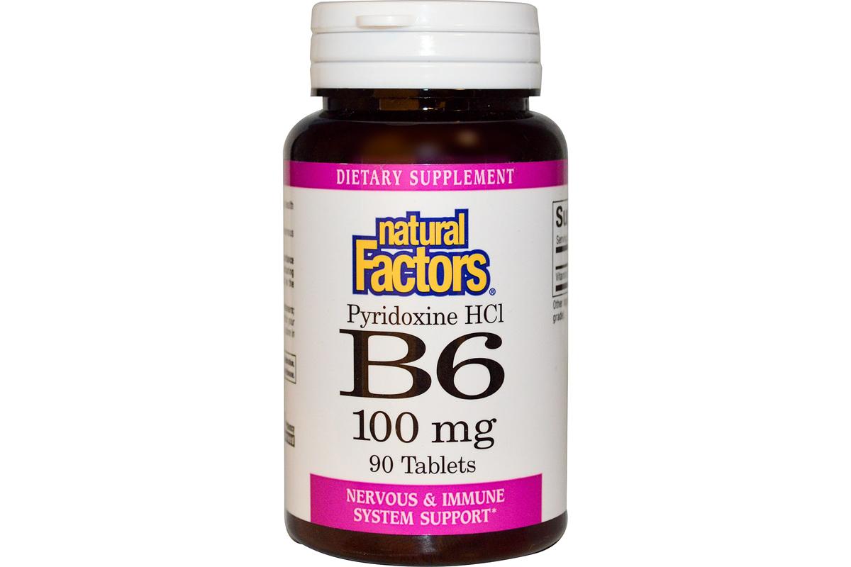 Витамин B6, пиридоксин HCl в таблетках от Natural Factors