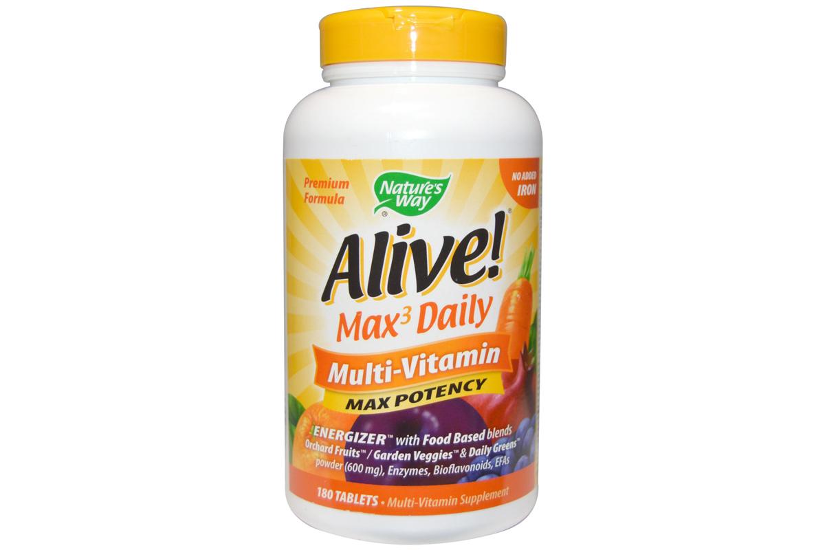 Мультивитамины максимального действия без добавления железа в таблетках от Nature's Way, Alive!