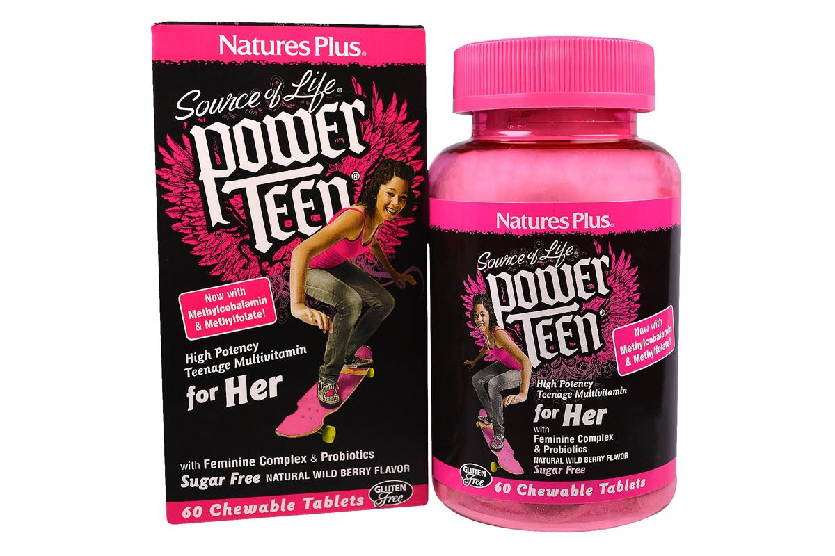 Витамины для девушек Power Teen, For Her в таблетках от Nature's Plus (60 жевательных таблеток)