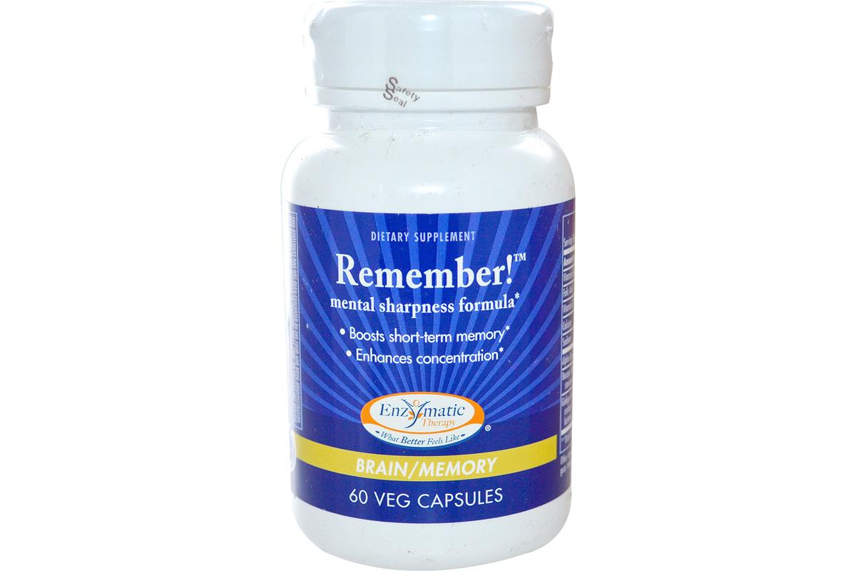 Комплекс для остроты ума, для мозга и памяти Remember! в растительных капсулах от Enzymatic Therapy (60 штук).