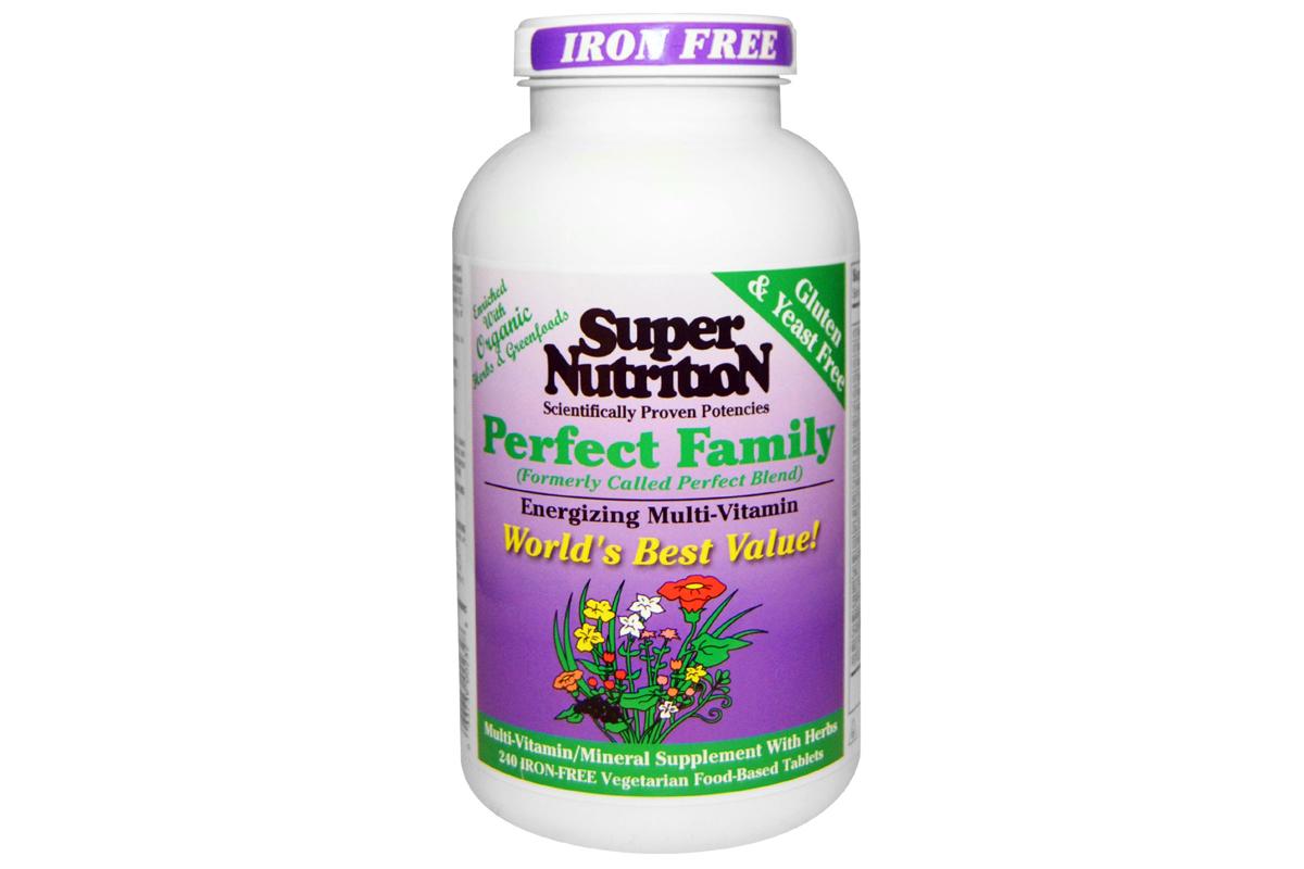 Мультивитамины для энергии, не содержат железа от Super Nutrition, Perfect Family