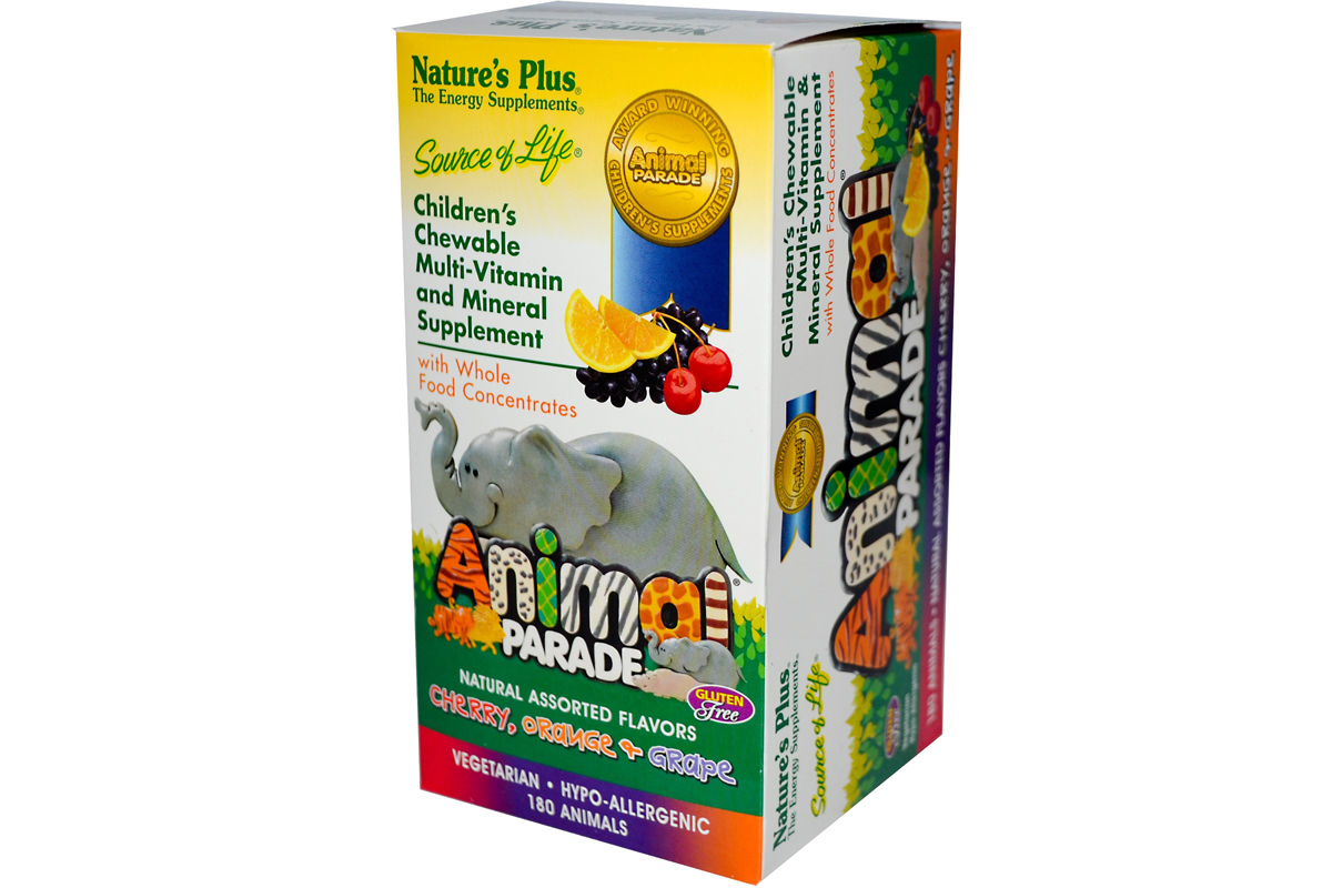 Жевательные таблетки для детей с мультивитаминами в форме животных, несколько вкусов, Nature's Plus