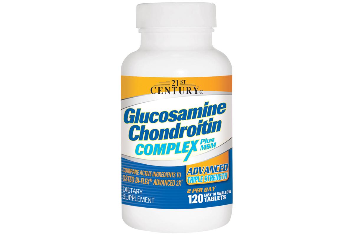 Комплекс глюкозамина и хондроитина плюс МСМ, улучшенная тройная сила в таблетках от 21st Century (120 штук)