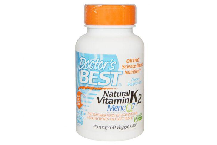 Натуральный витамин K2, Mena Q7, 45 мкг в растительных капсулах от Doctor's Best (60 штук)