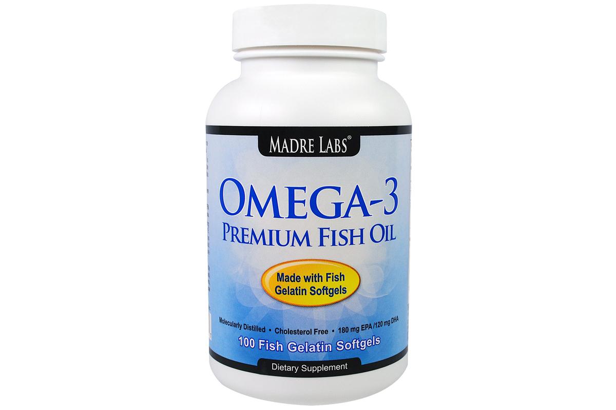 Рыбий жир премиум-класса с омега-3, 2000 мг в капсулах из рыбного желатина от Madre Labs