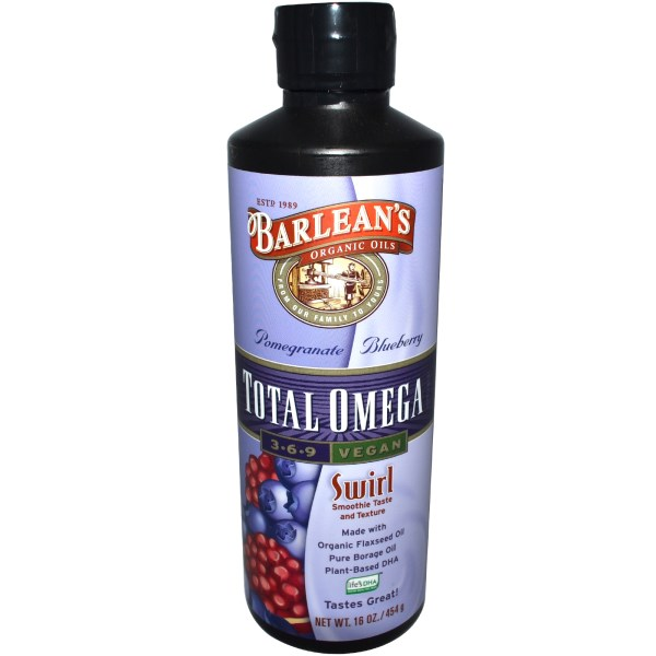 Barlean's, Total Omega 3·6·9 Vegan, Pomegranate Blueberry, 16 oz (454 g)