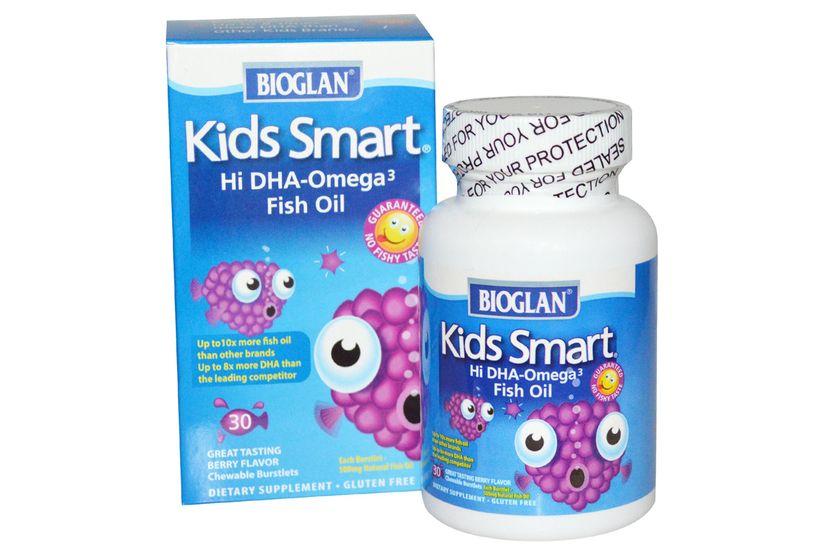 Bioglan, Умные детки, Рыбий жир с высоким содержанием Омега-3, с ягодным вкусом, 30 жевательных драже