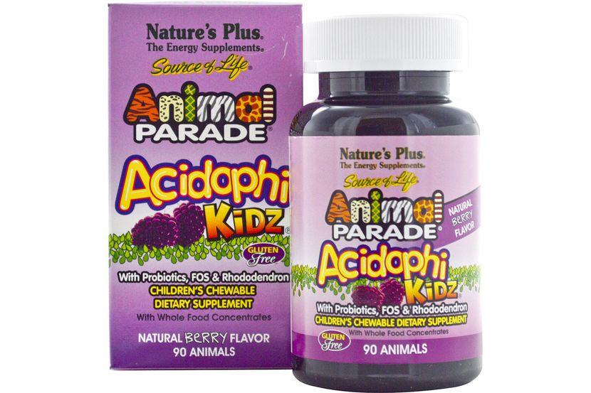 Nature's Plus, Source of Life, Animal Parade, AcidophiKidz , детские жевательные конфеты, натуральный ягодный вкус, 90 жевачек в форме животных