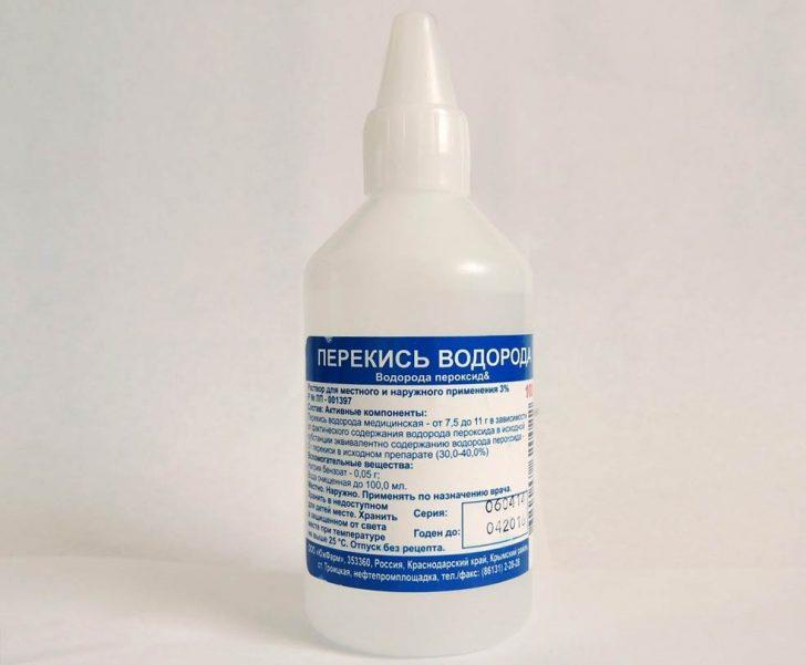 Промывание уха перекисью водорода