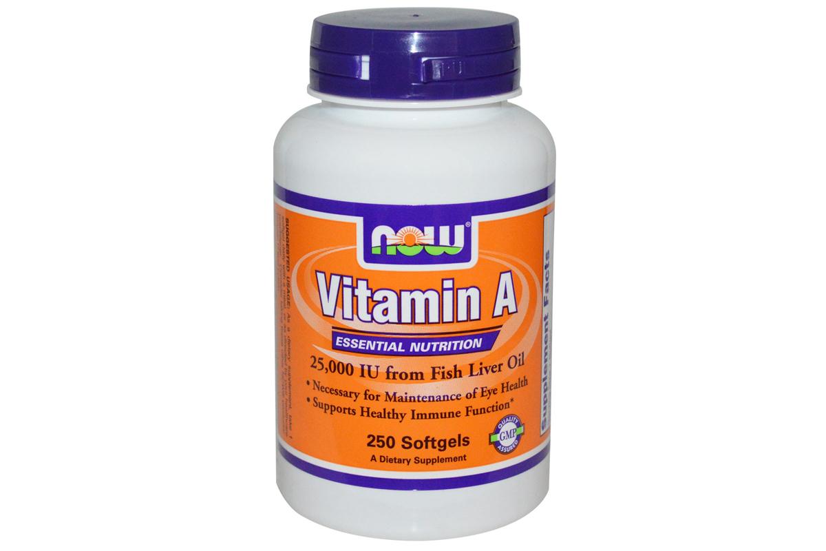 Now Foods, Витамин А, 25 000 ме, 250 гелевых капсул