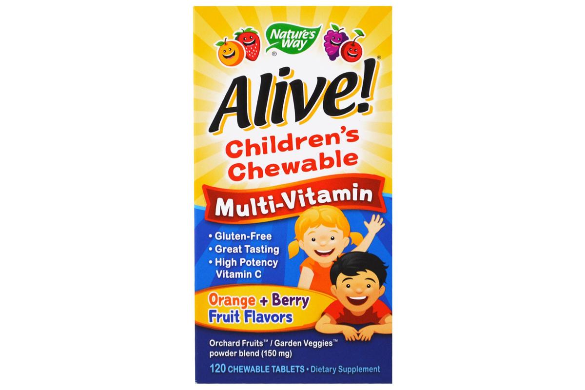 Детские жевательные мультивитамины со вкусом апельсина и ягод Alive! (120 штук) от Nature's Way, Alive!