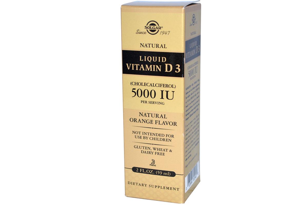 Solgar, Жидкий витамин D3, 5000 МЕ, с натуральным апельсиновым вкусом, (59 мл)