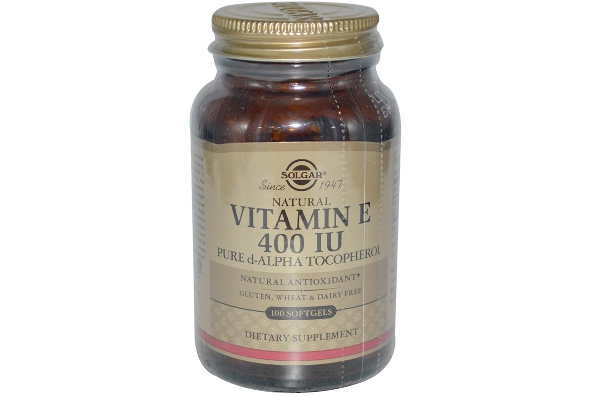 Solgar, Натуральный витамин Е, 400 МЕ, в желатиновых капсулах (100 штук)