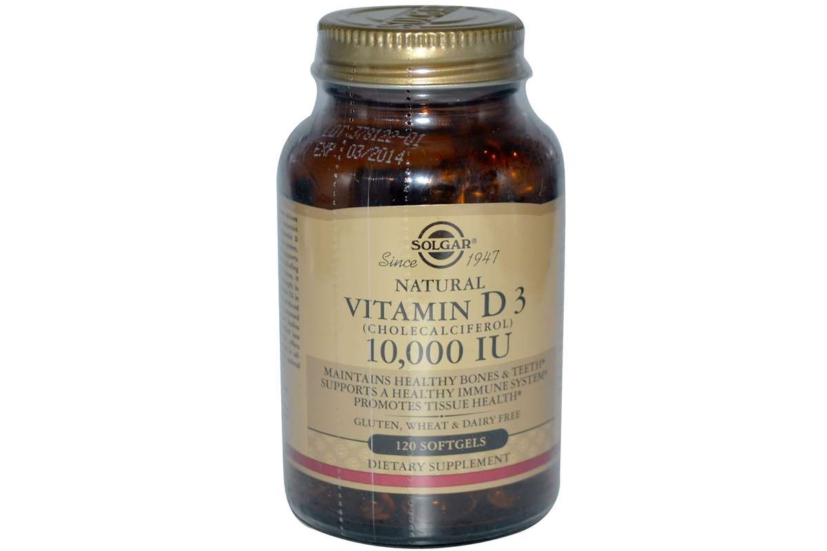 Solgar, Натуральный витамин D3, 10 000 МЕ, в гелевых капсулах (120 штук)