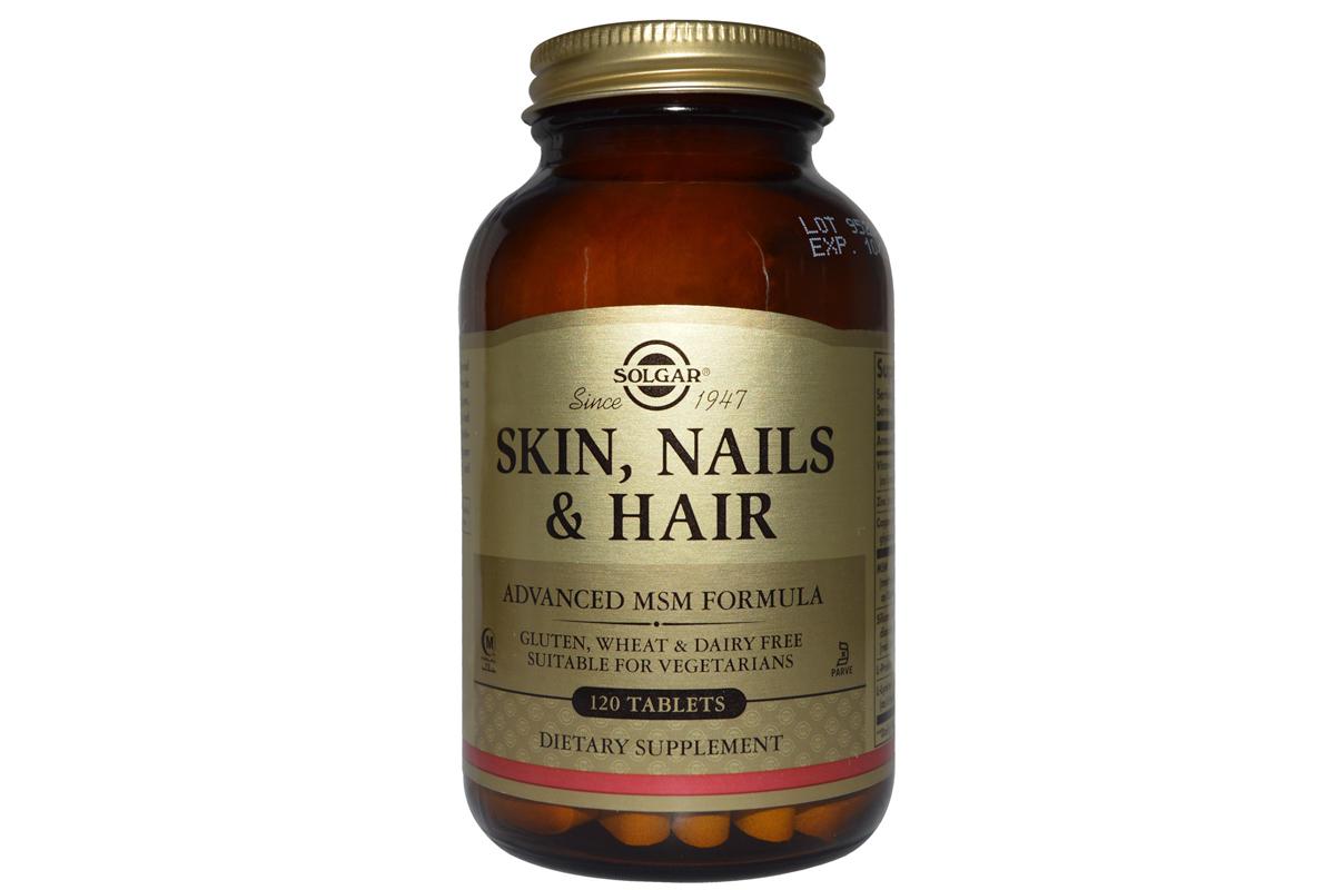 Solgar, Кожа, ногти и волосы, улучшенная МСМ формула, в таблетках (120 штук)