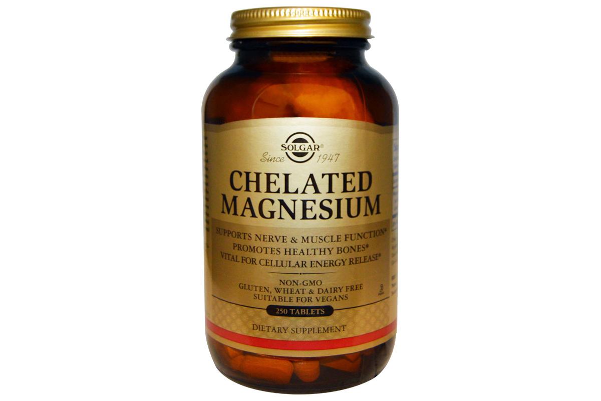 Солгар, Хелатный магний, в таблетках (250 штук)