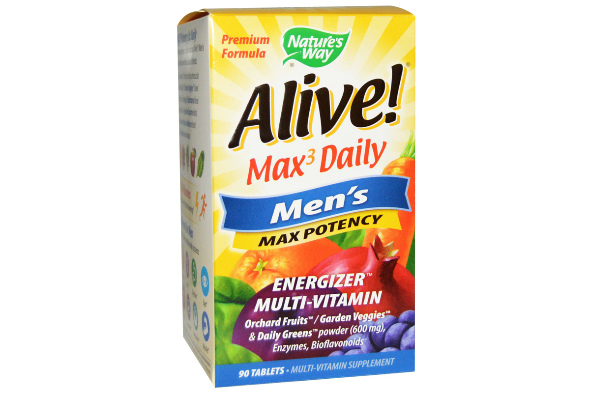 Nature's Way, Alive!, Max3 Daily, максимальная мужская энергия в таблетках (90 штук)