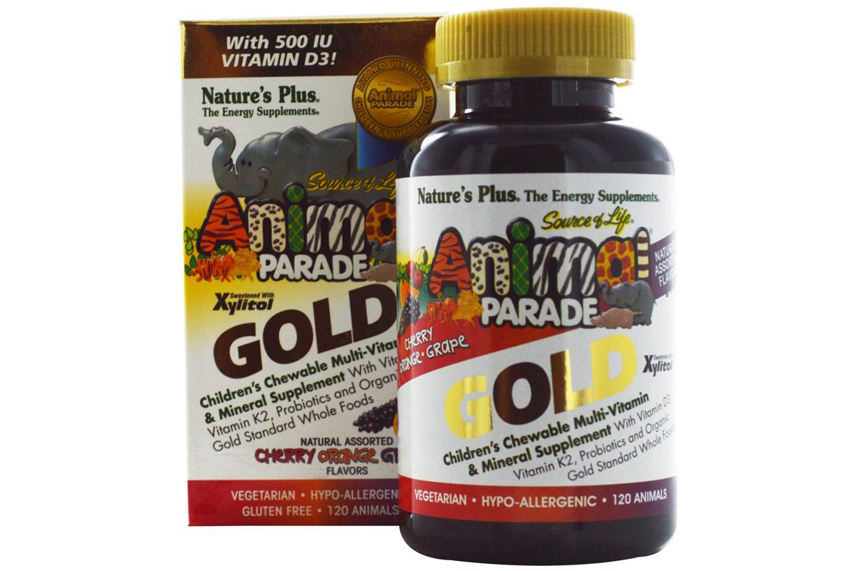 Nature's Plus, Nature's Plus, Парад животных, детский жевательный комплекс мультивитаминов и минералов, разнообразие вкусов, (120 штук)