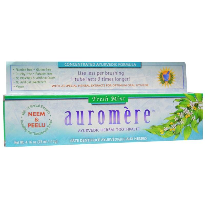 Аюрведическая зубная паста на травах, Auromere, свежая мята, 4,16 унции (117 г)