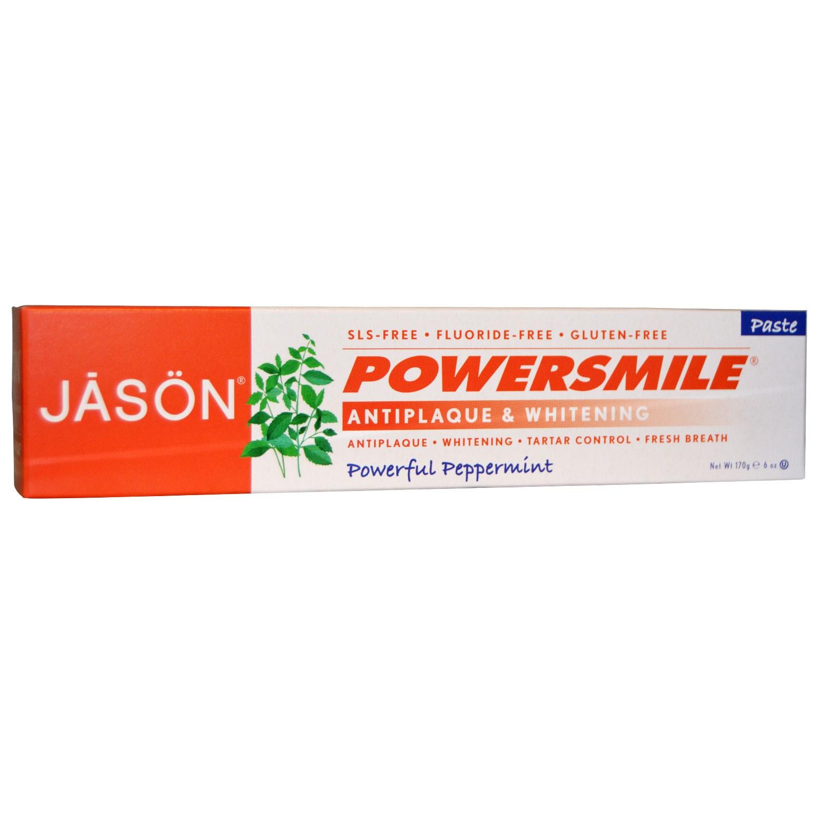 Отбеливающая зубная паста, PowerSmile, Jason Natural, сила перечной мяты (170 г)