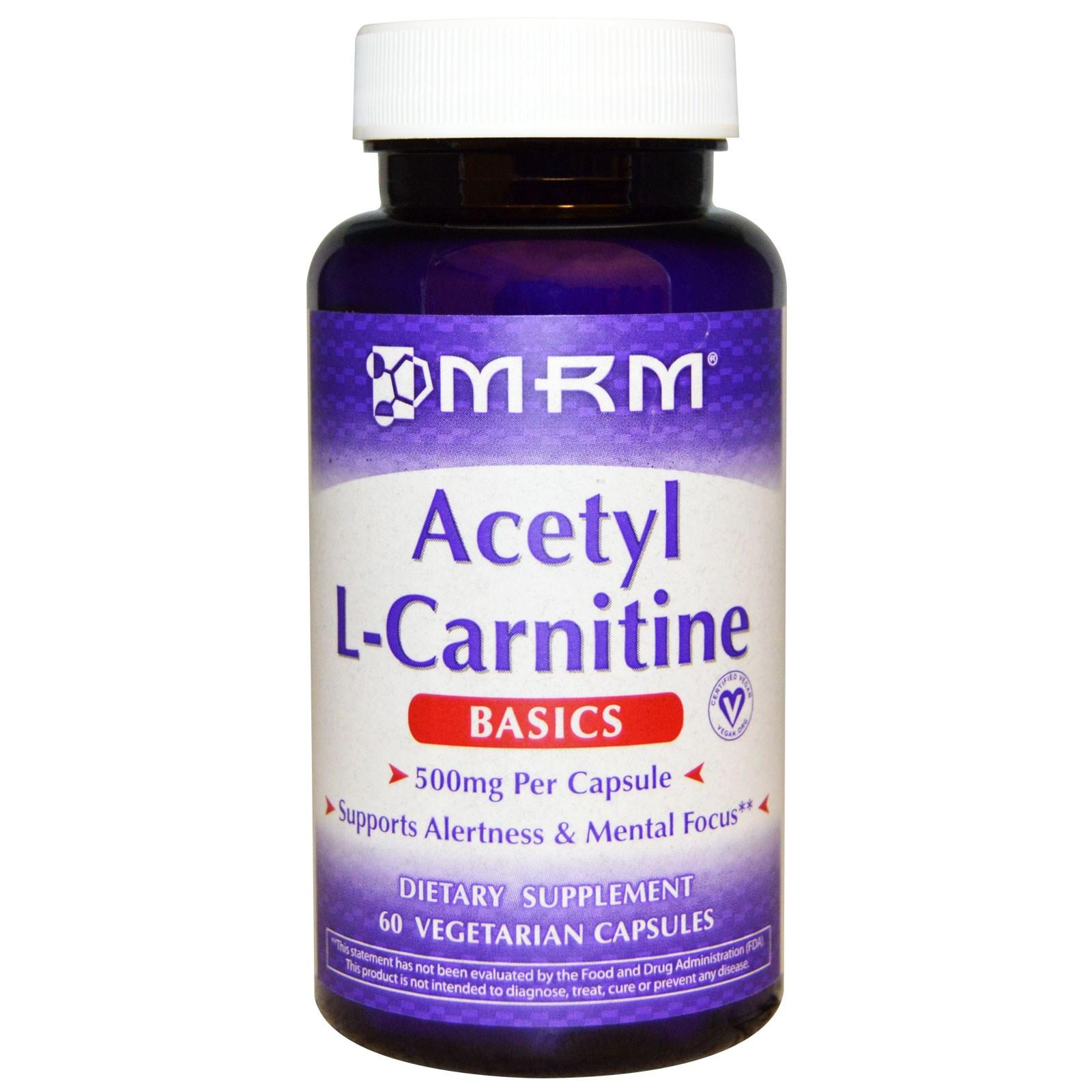 Ацетил-L-карнитин в растительных капсулах от MRM (США)