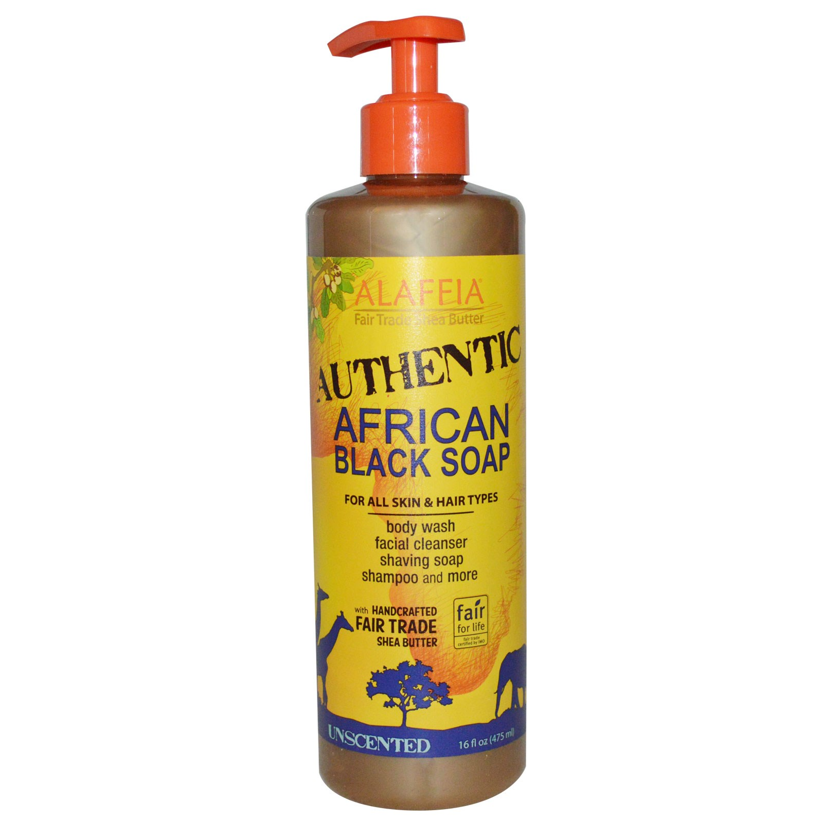Натуральное африканское черное мыло Alaffia (475 мл)