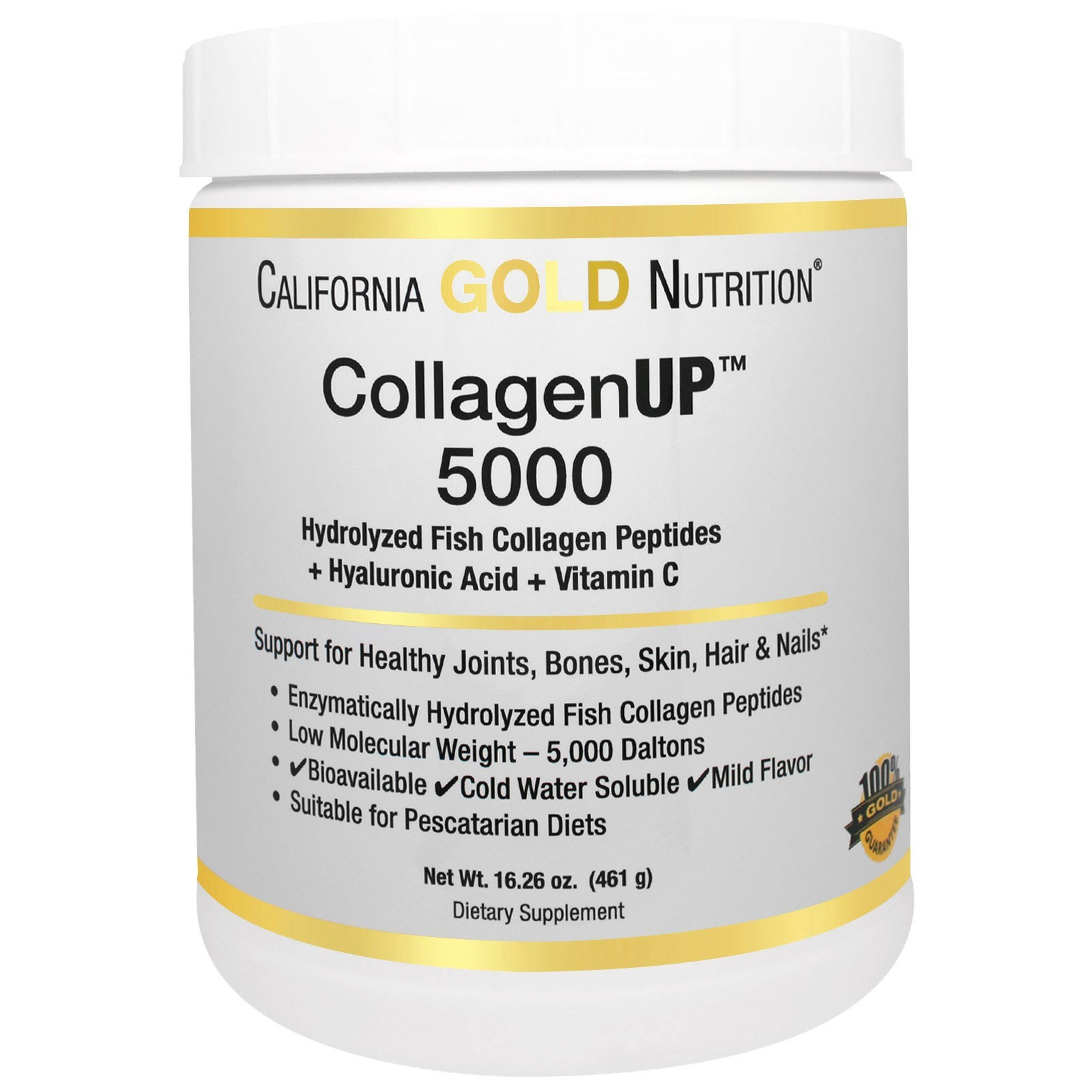 California Gold Nutrition, CollagenUP™ 5000, Marine-Sourced Collagen Peptides + Hyaluronic Acid & Vitamin C, порошок (461 г)