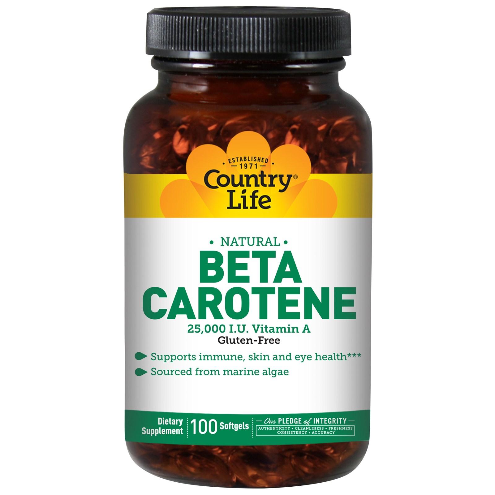 Бета-каротин Country Life в мягких таблетках (100 штук)