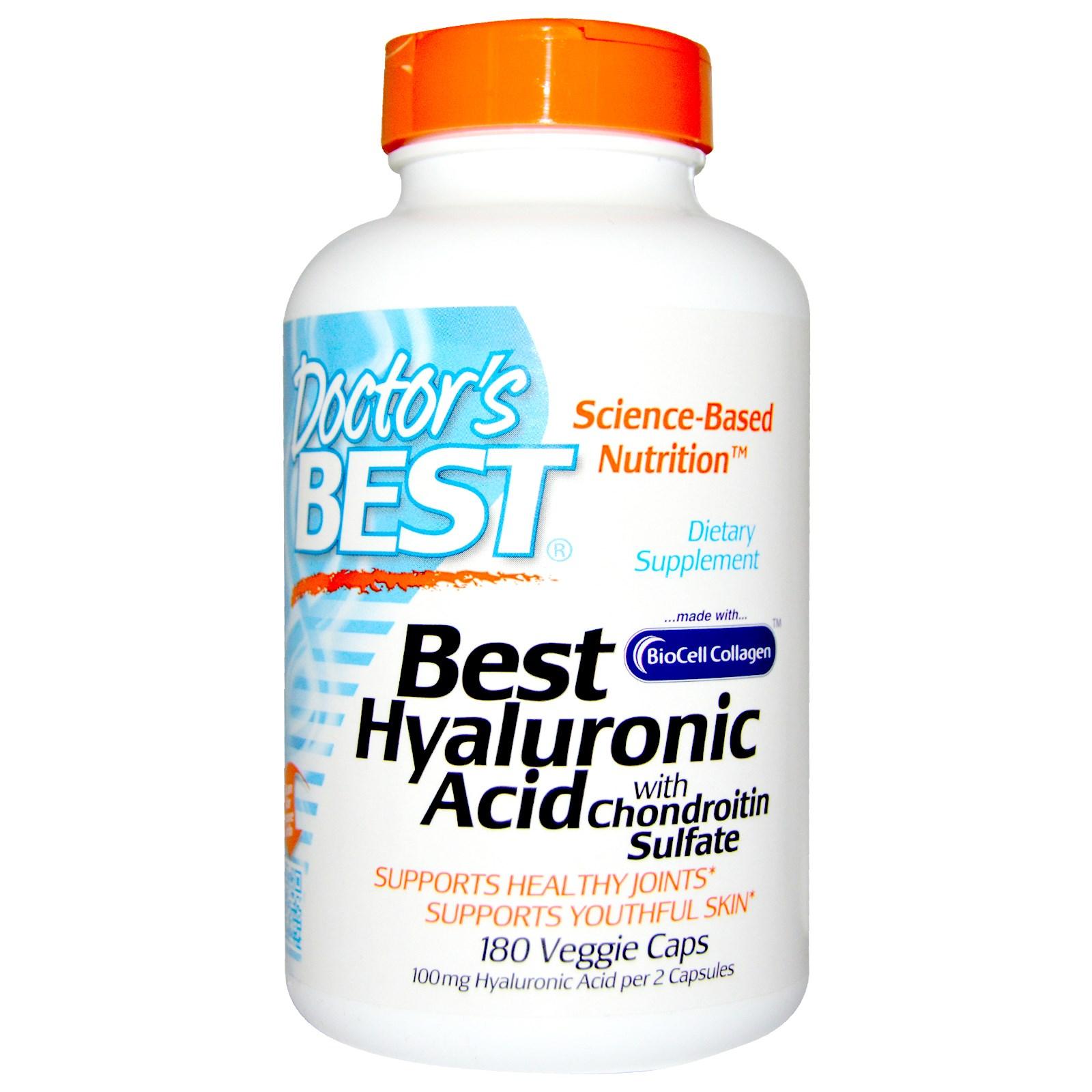 Doctor's Best, Best гиалуроновая кислота с хондроитин сульфатом, 180 капсул