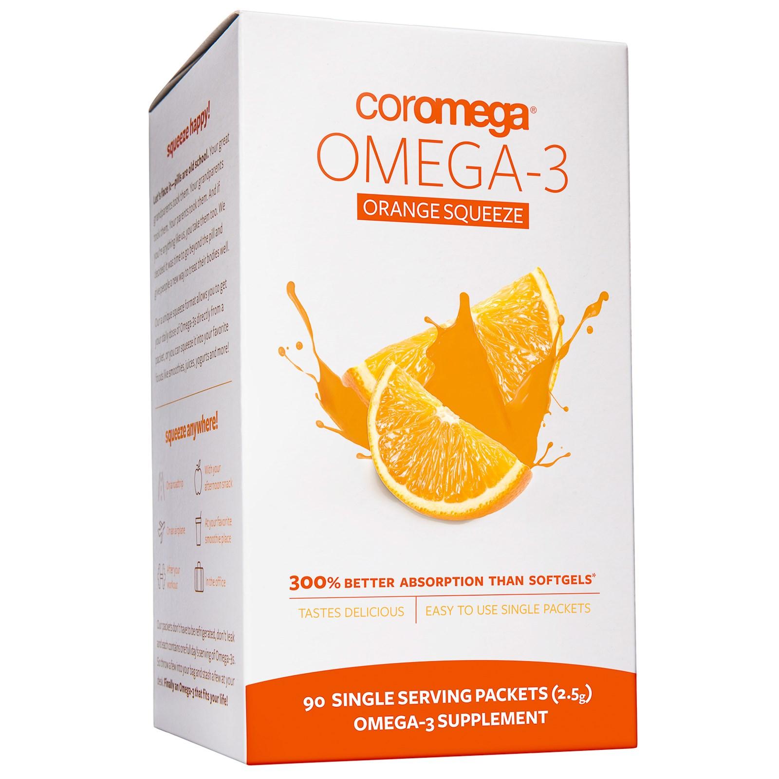 Coromega, Омега-3, пакетики со вкусом апельсина (90 пакетиков, 2.5 г каждый)