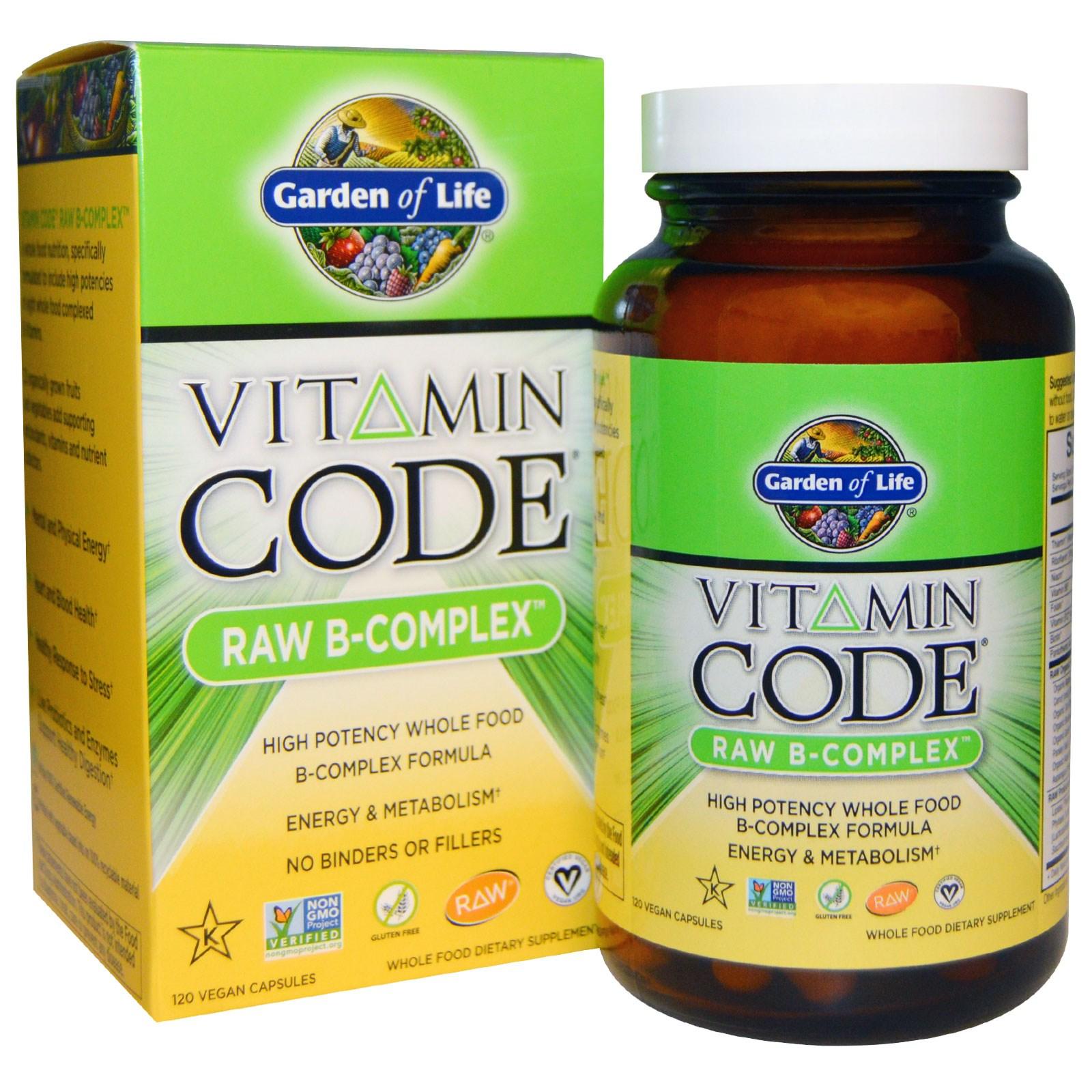 Витаминный код B-комплекс в капсулах, Garden of Life, (120 штук)