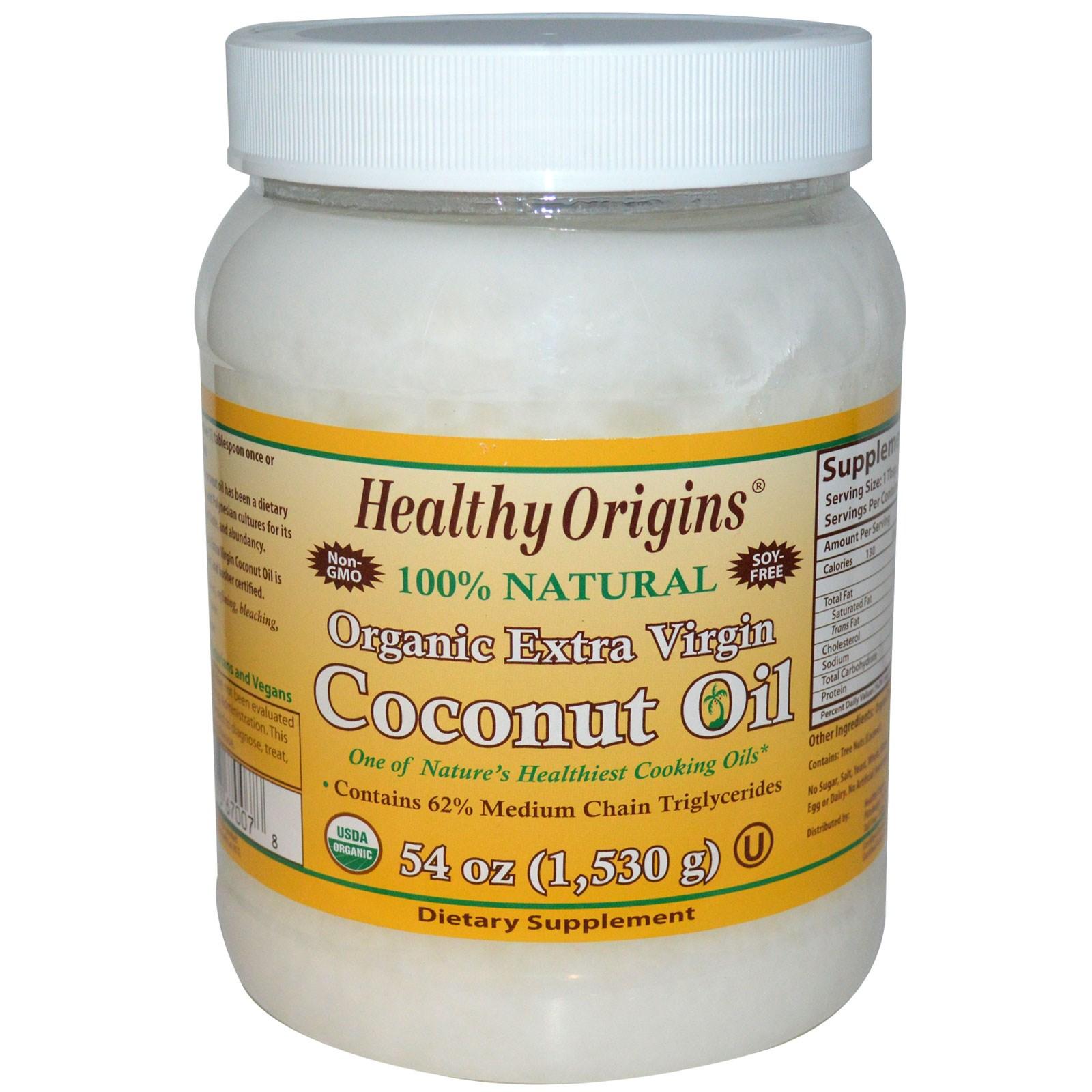 Органическое кокосовое масло первого отжима Healthy Origins (1,503 г).