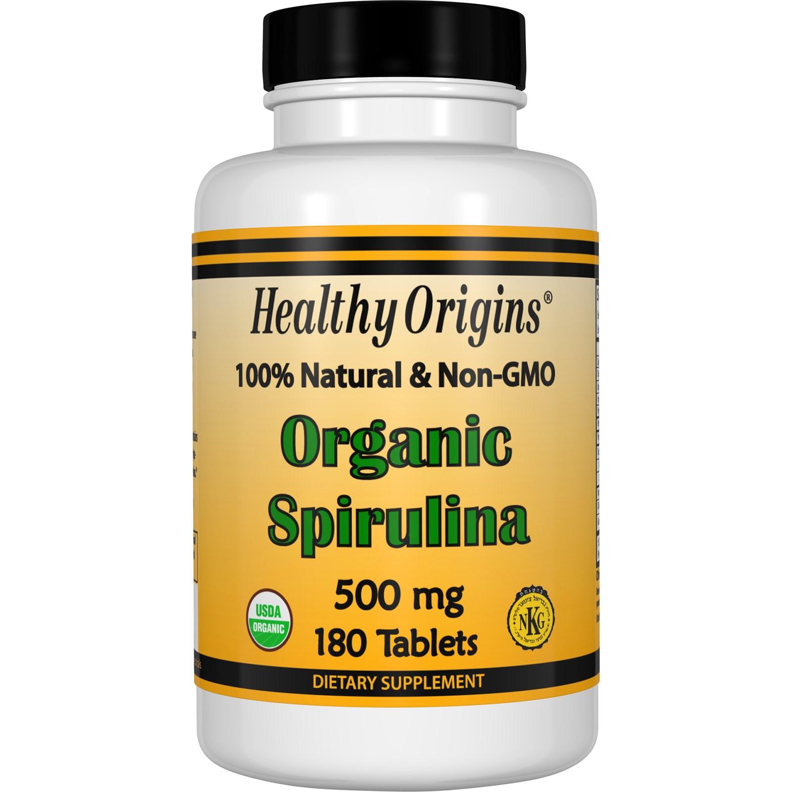 Органическая спирулина, 500 мг в таблетках от Healthy Origins (180 штук)