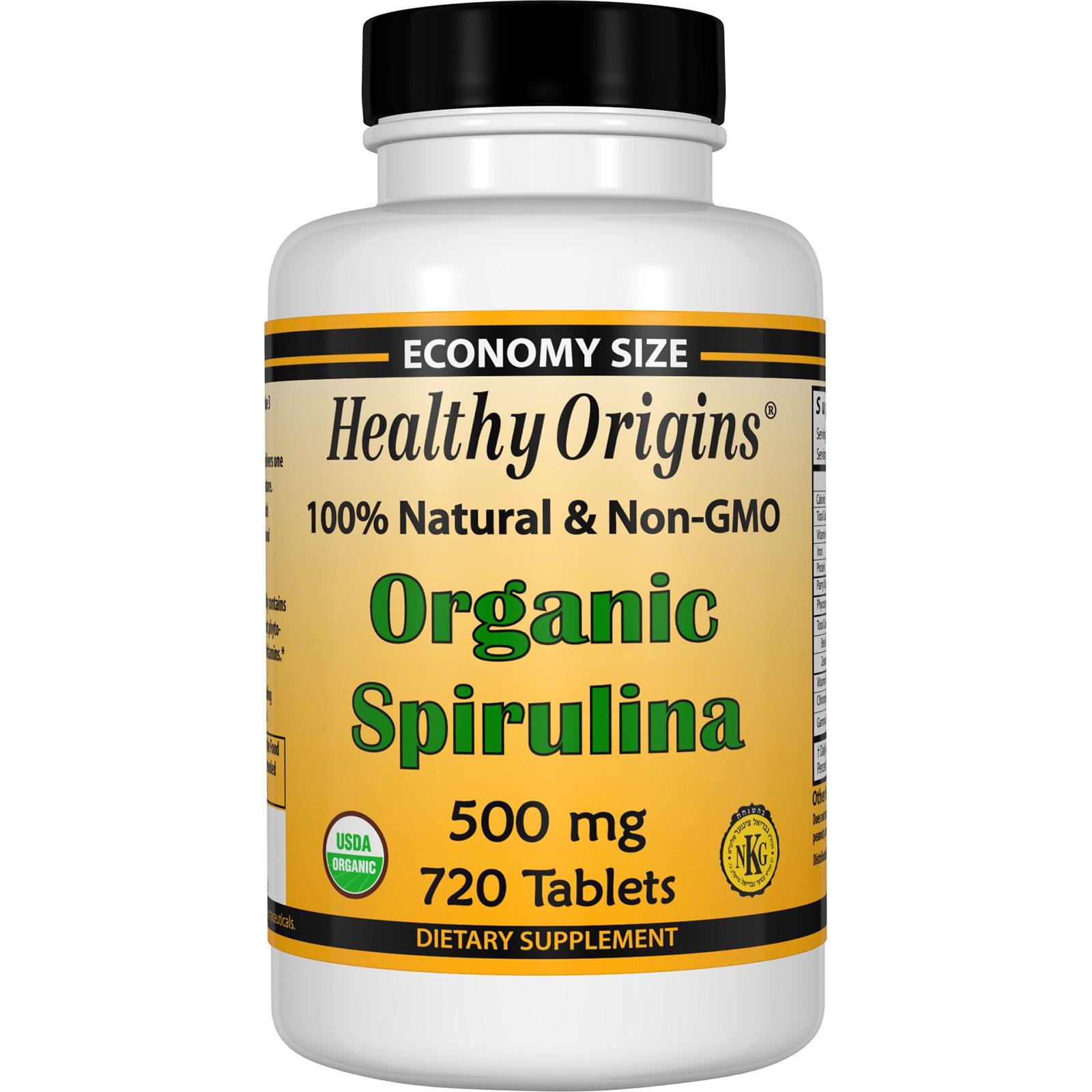 Органическая спирулина, 500 мг в таблетках от Healthy Origins (720 штук)