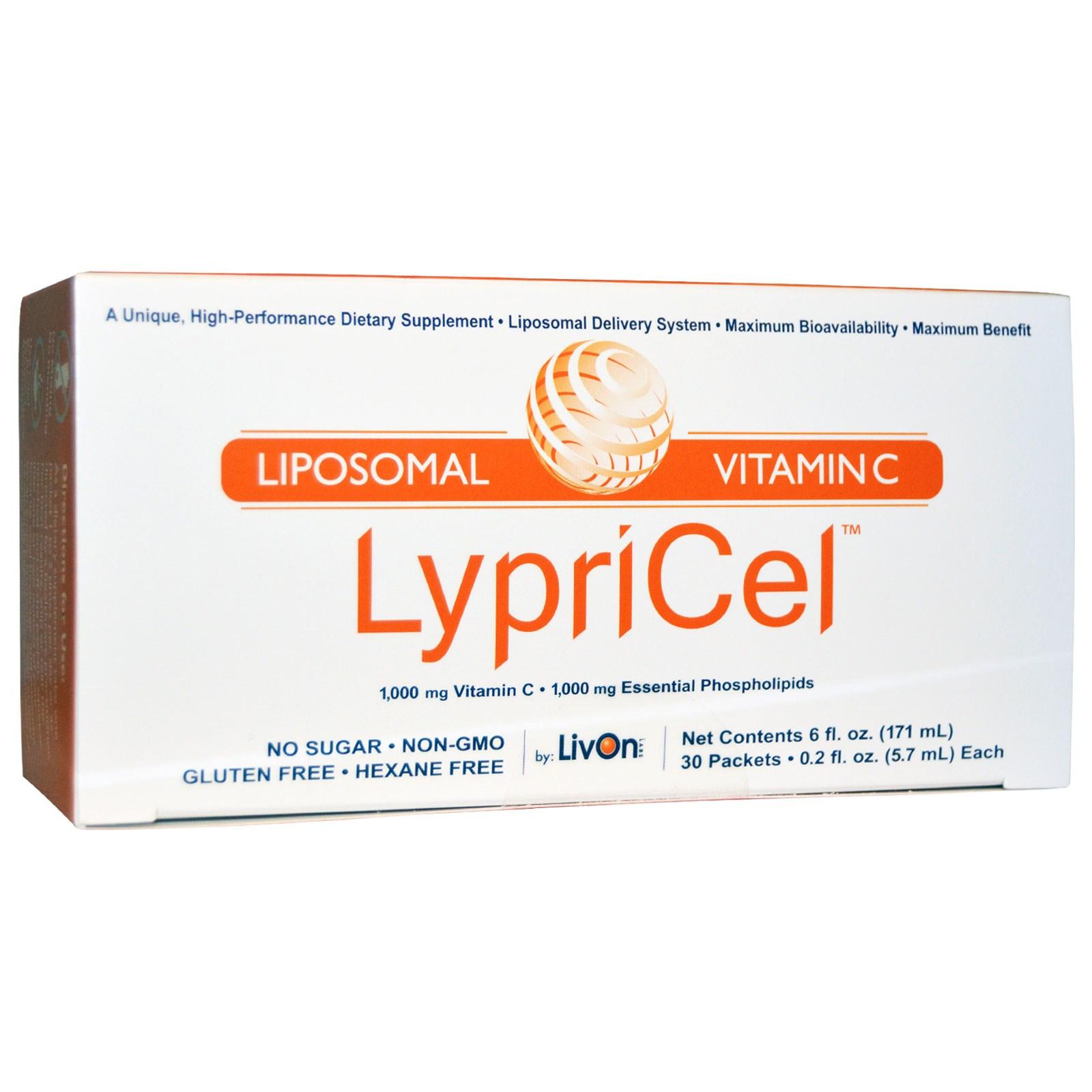 Липосомальный витамин С в пакетиках, LypriCel (30 штук).