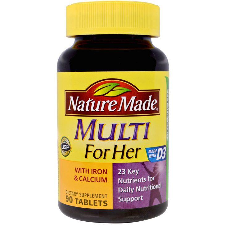 Витаминный комплекс Multi for Her с железом и кальцием, Nature Made, в таблетках (90 штук)