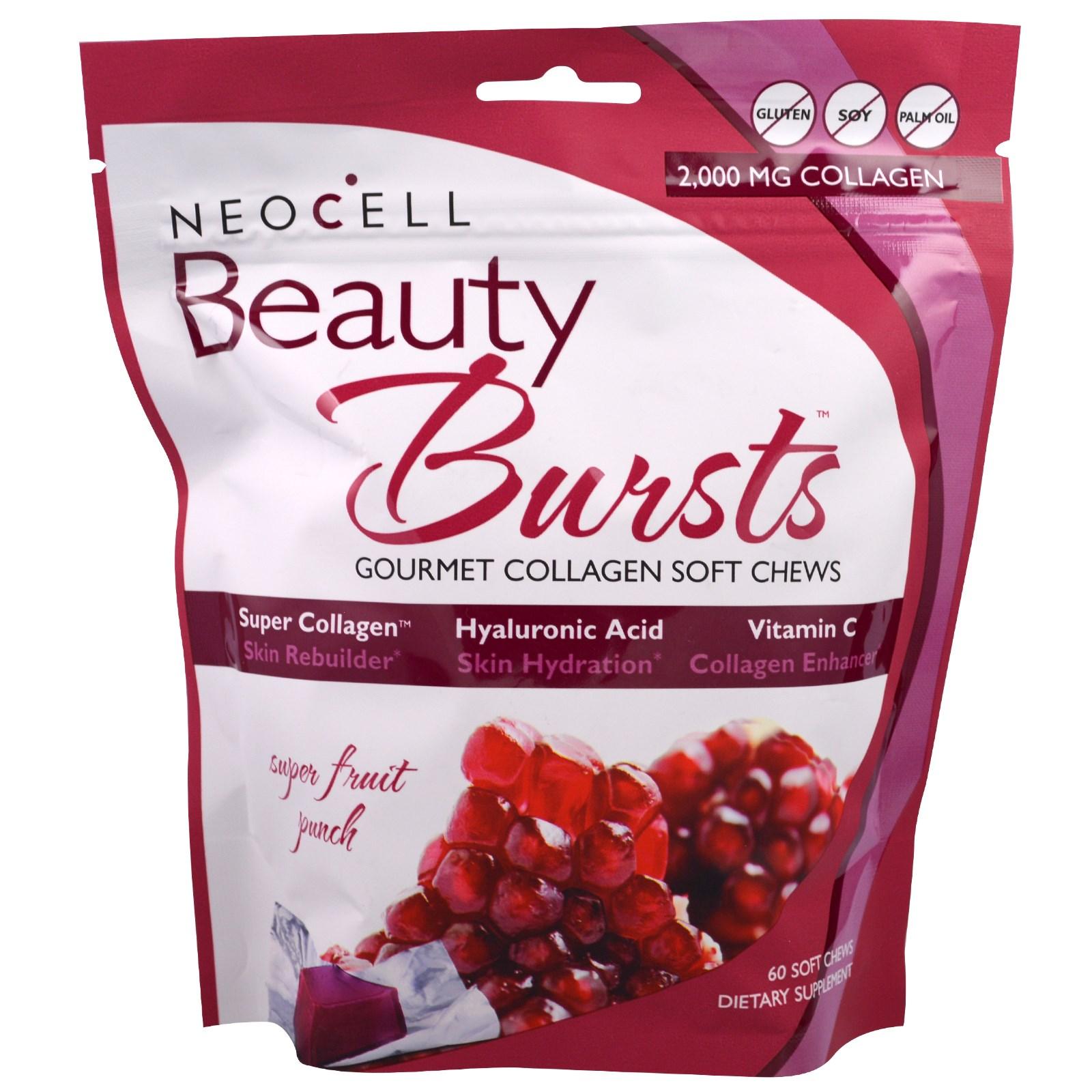 Neocell, Beauty Bursts, коллаген в жевательных таблетках (60 штук)