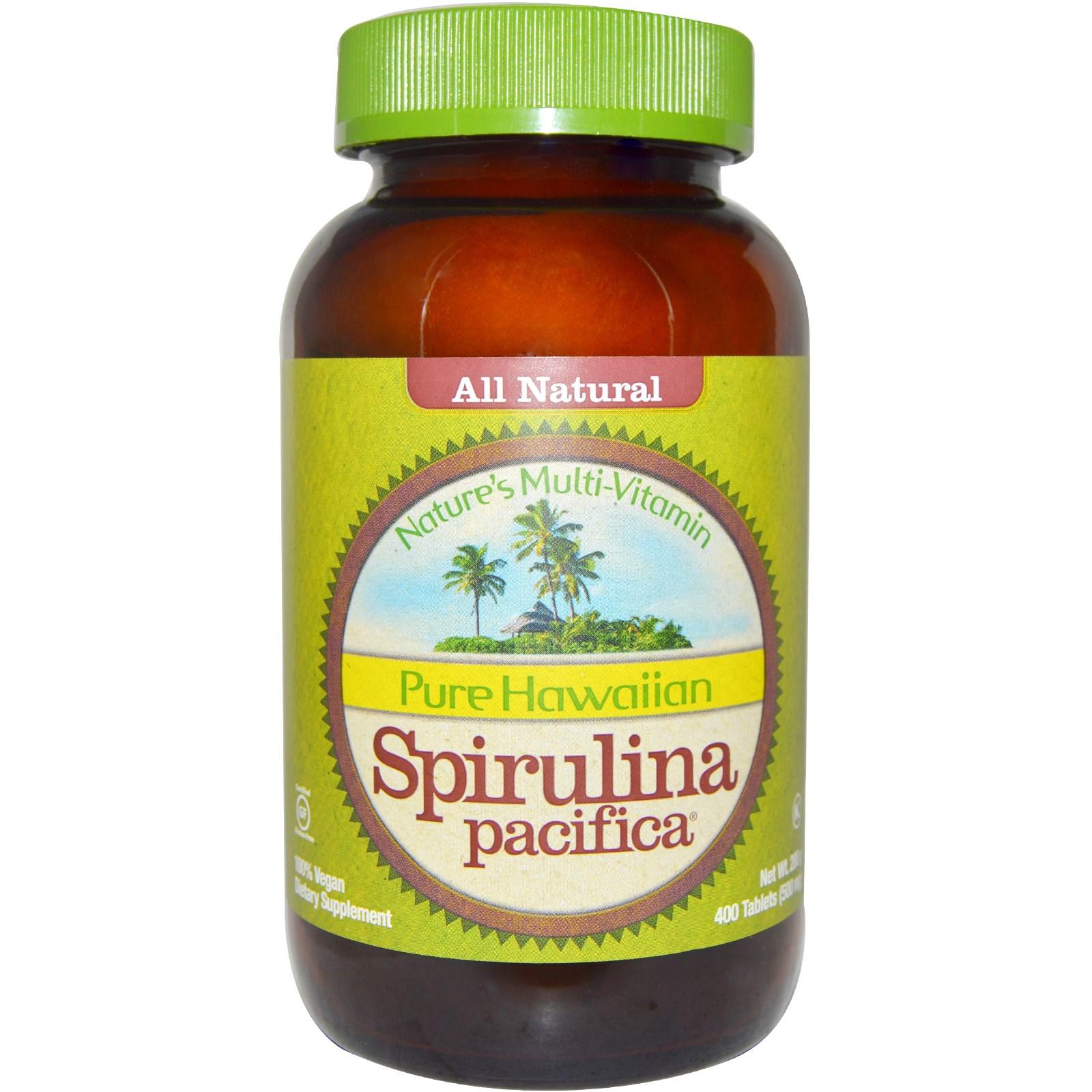 Чистая гавайская тихоокеанская спирулина, 500 мг в таблетках от Nutrex Hawaii (400 штук)
