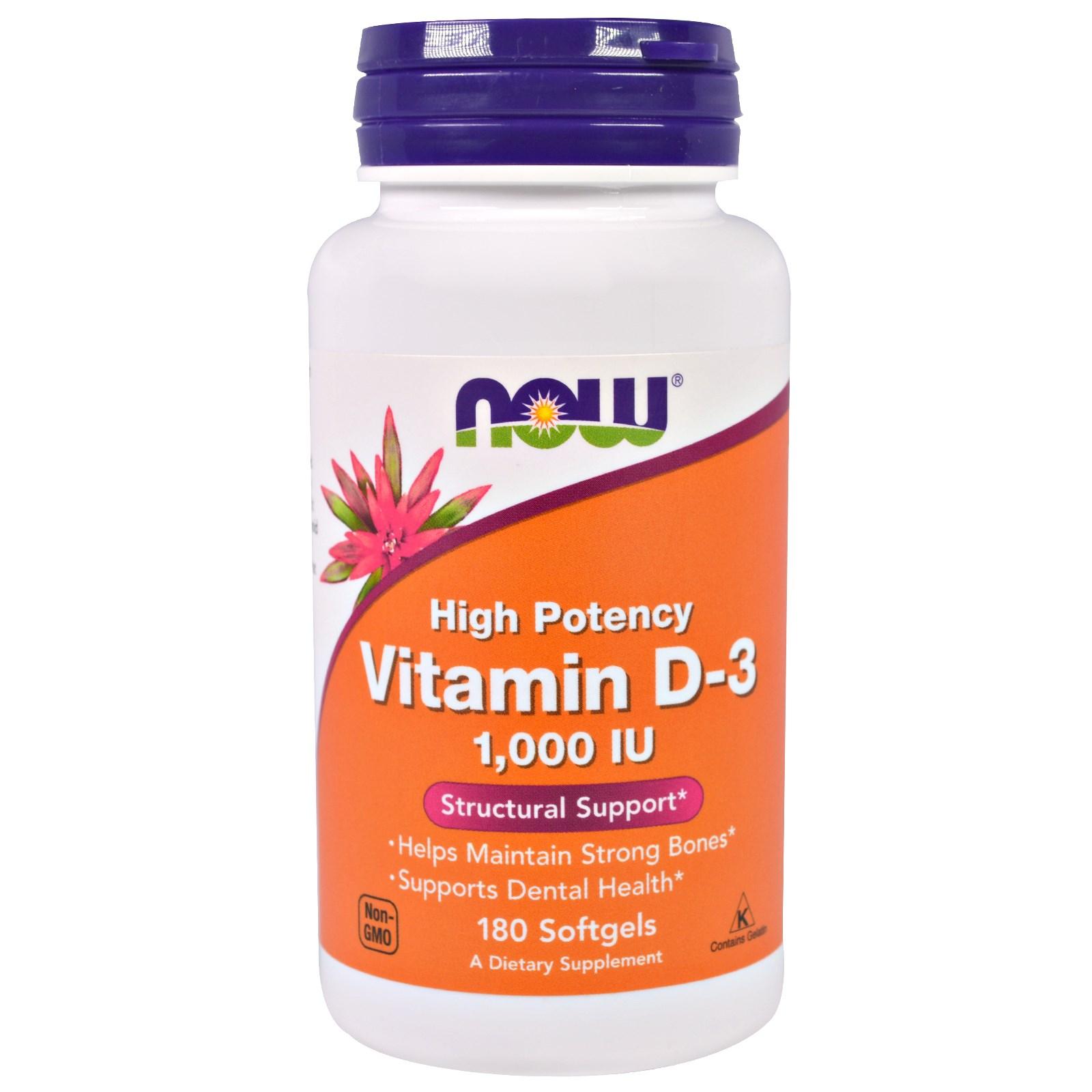 Витамин D-3, Now Foods, в капсулах (180 штук)