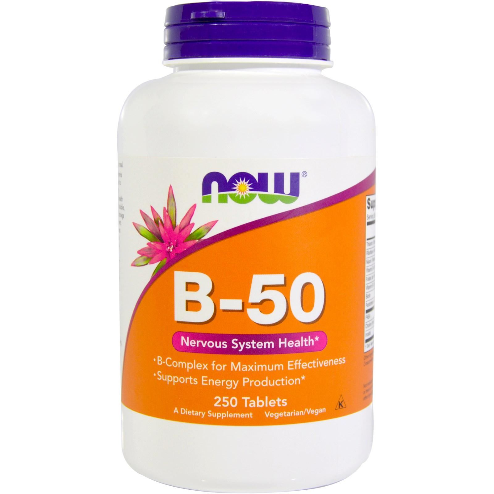 Комплекс витаминов группы B-50 в таблетках, Now Foods (250 штук)