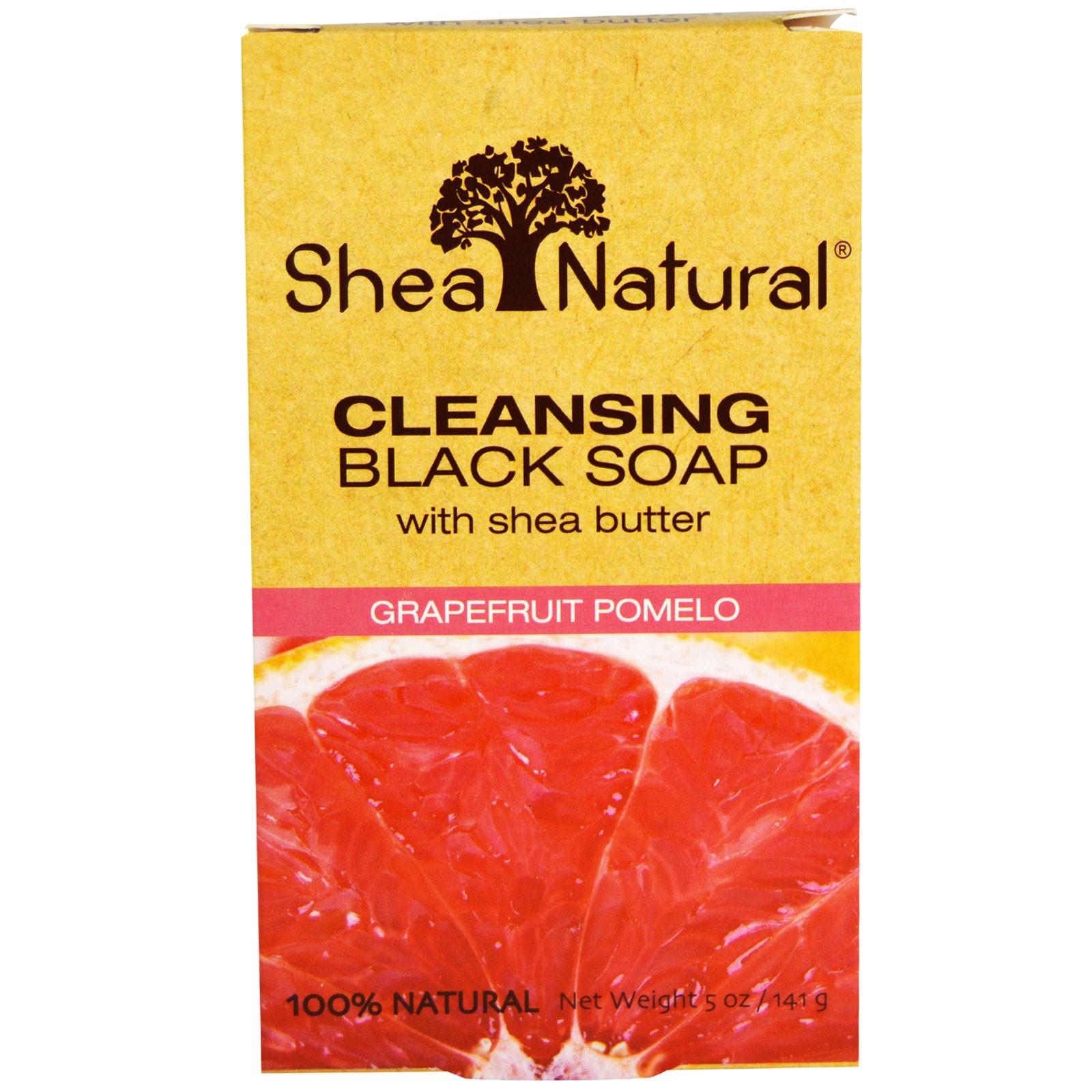 Очищающее черное мыло с экстрактом масла ши, грейпфрут-помело Shea Natural (141 г)