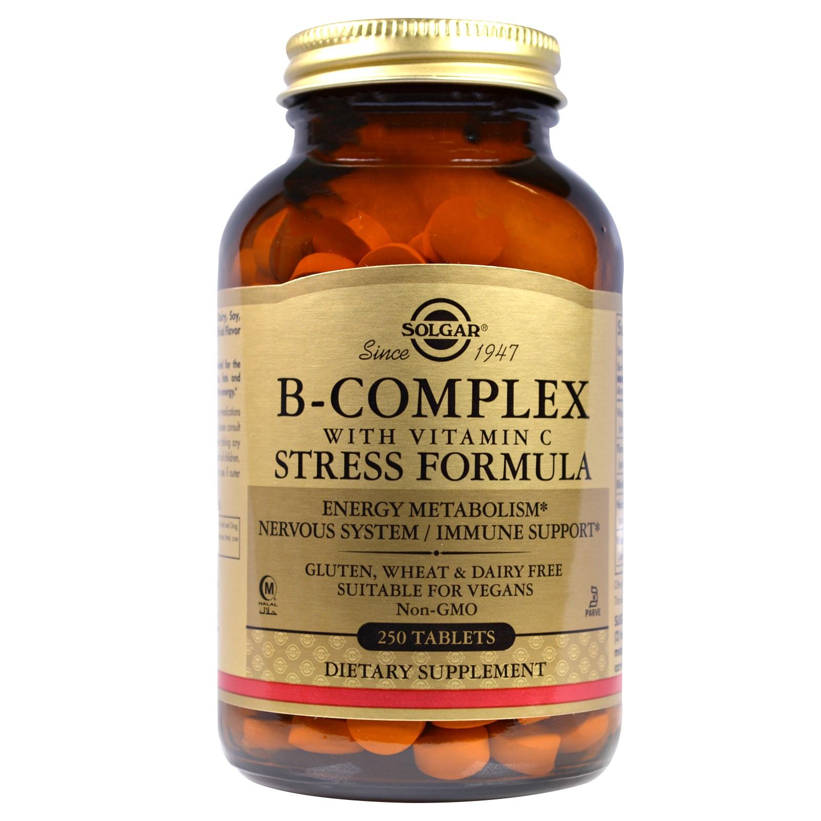 Комплекс витаминов B, формула против стресса в таблетках, Solgar (250 штук)