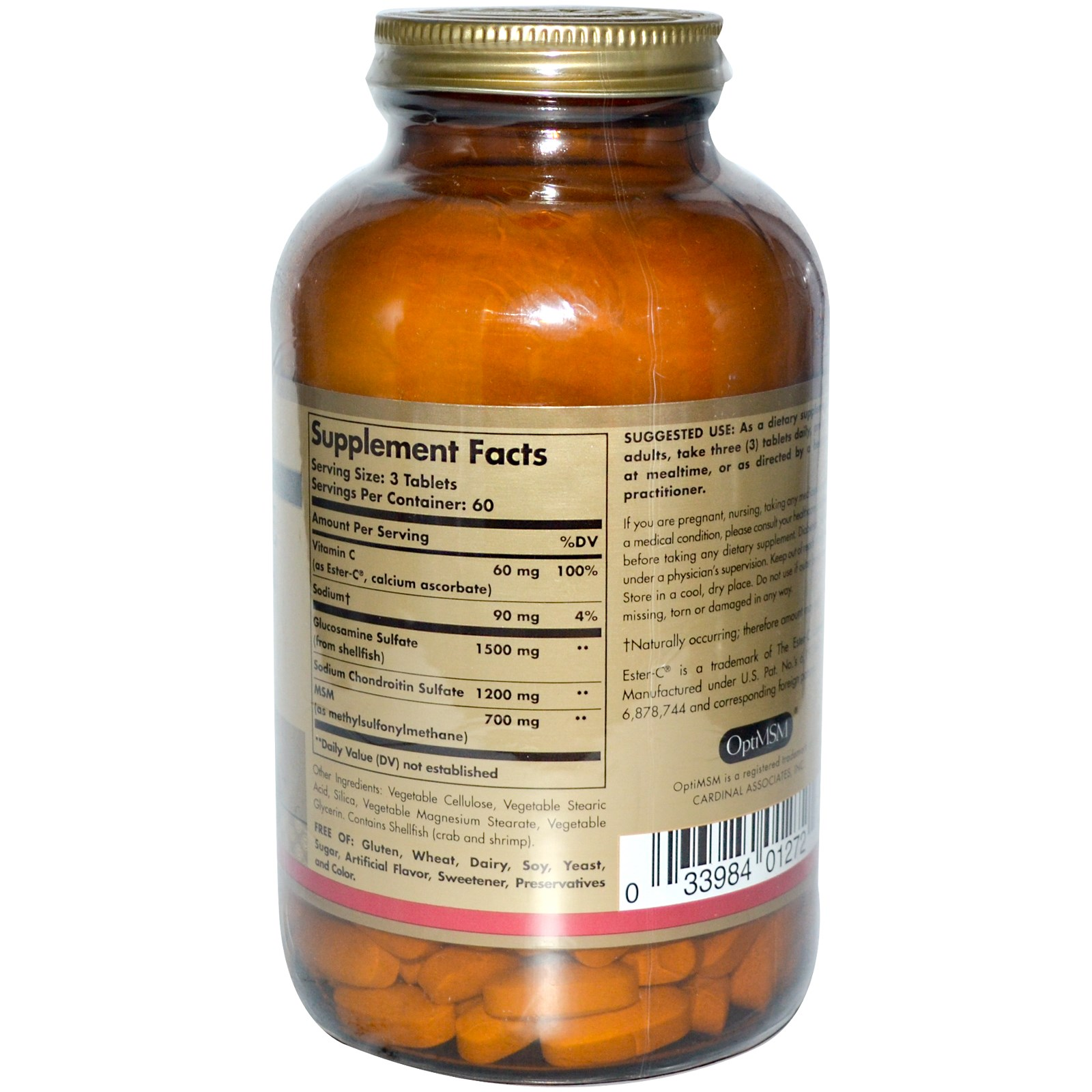 Solgar, Глюкозамин, хондроитин, метилсульфонилметан с Эстер-C в таблетках (180 штук)