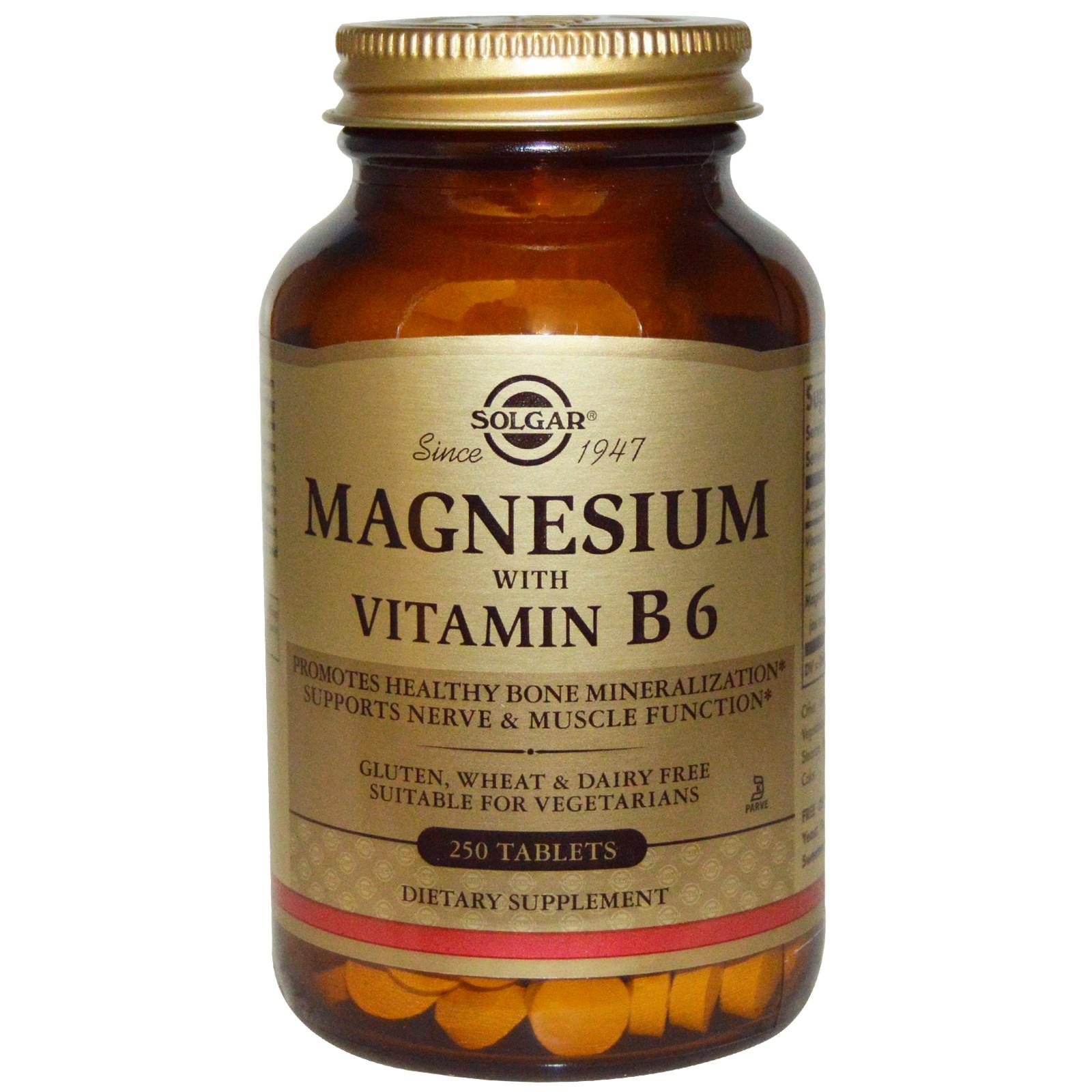Магний с витамином В6 в таблетках, Solgar (250 штук)