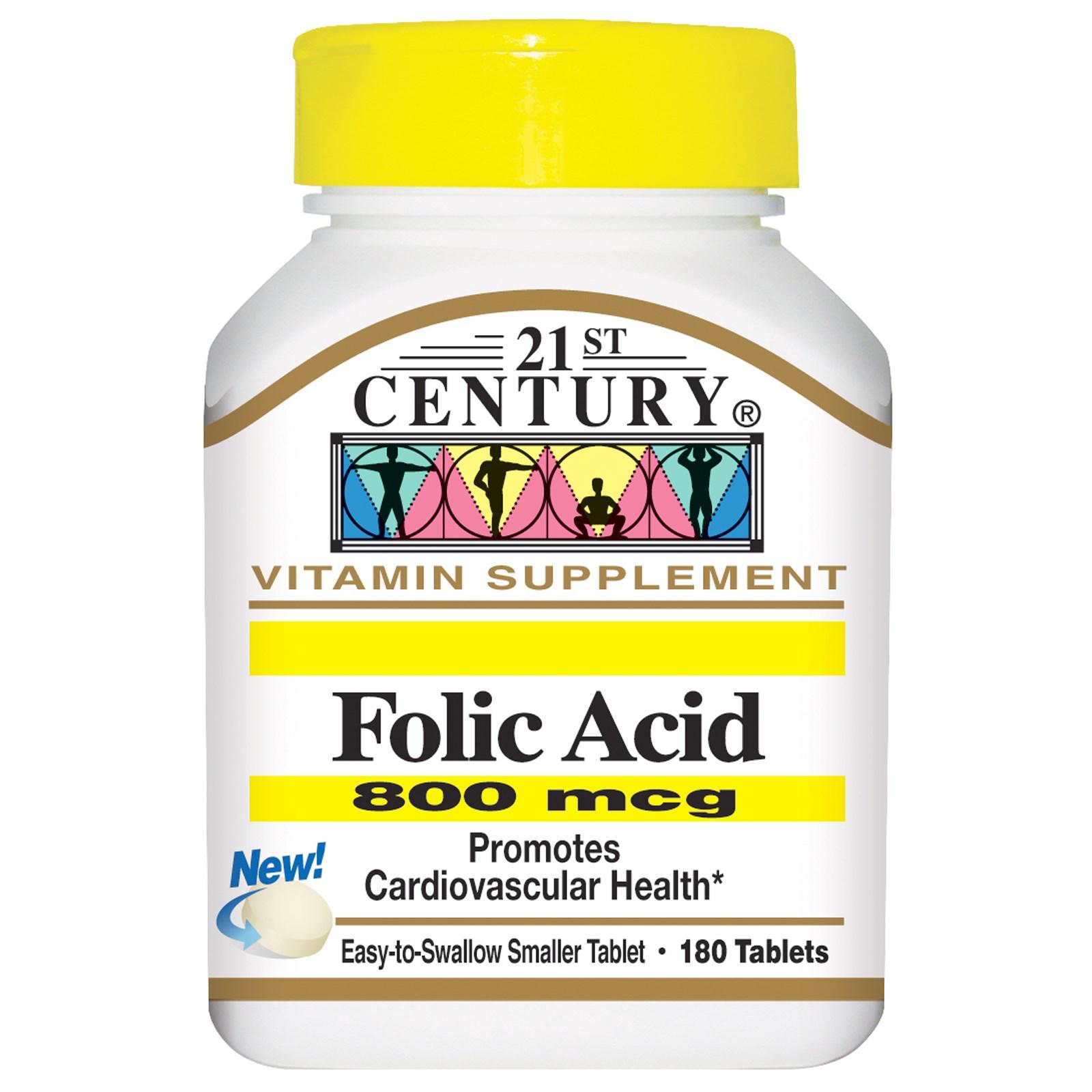 21st Century, Фолиевая кислота (800 мкг, 180 таблеток)