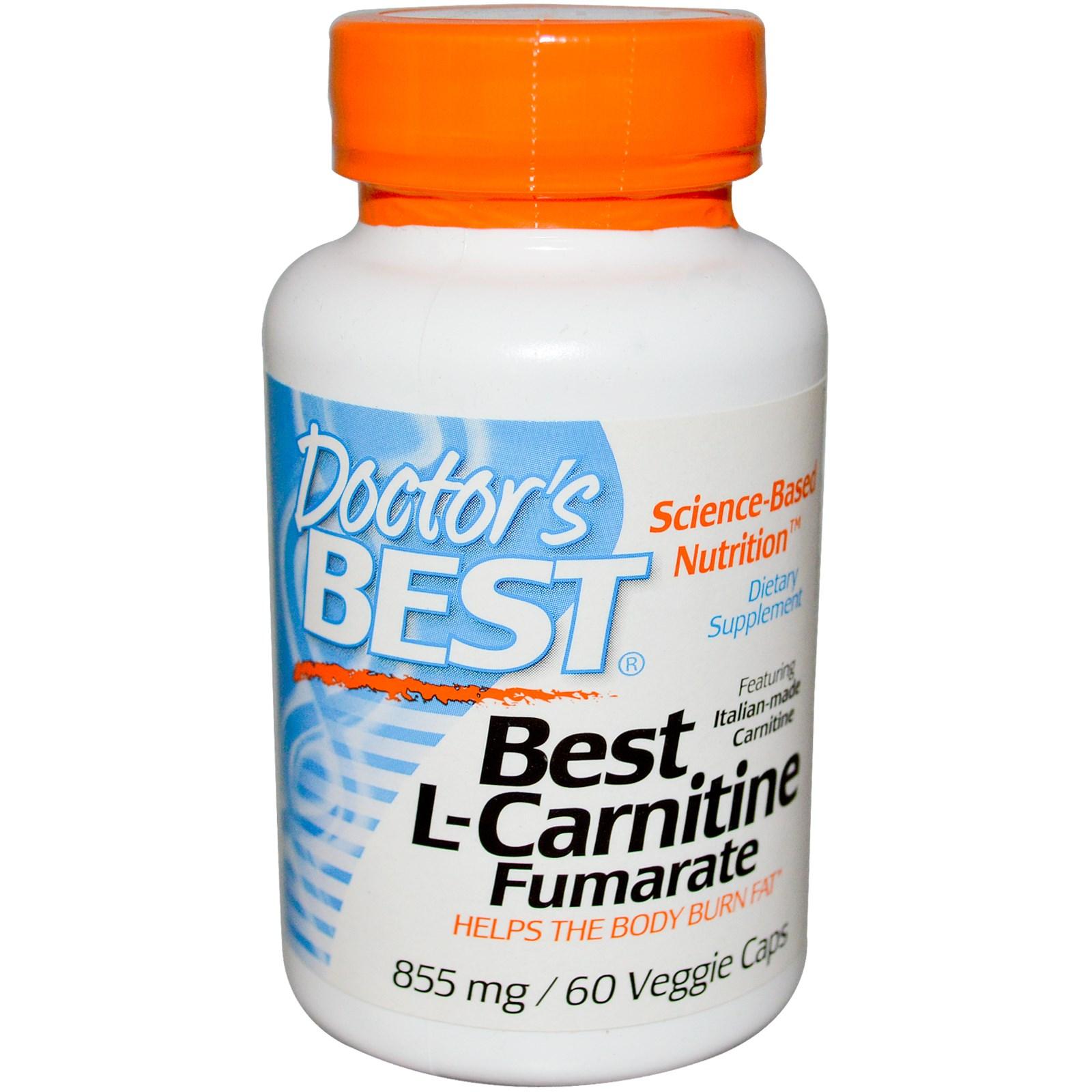 Doctor's Best, Лучший L-карнитин фумарат (855 мг, 180 вегетарианских капсул)