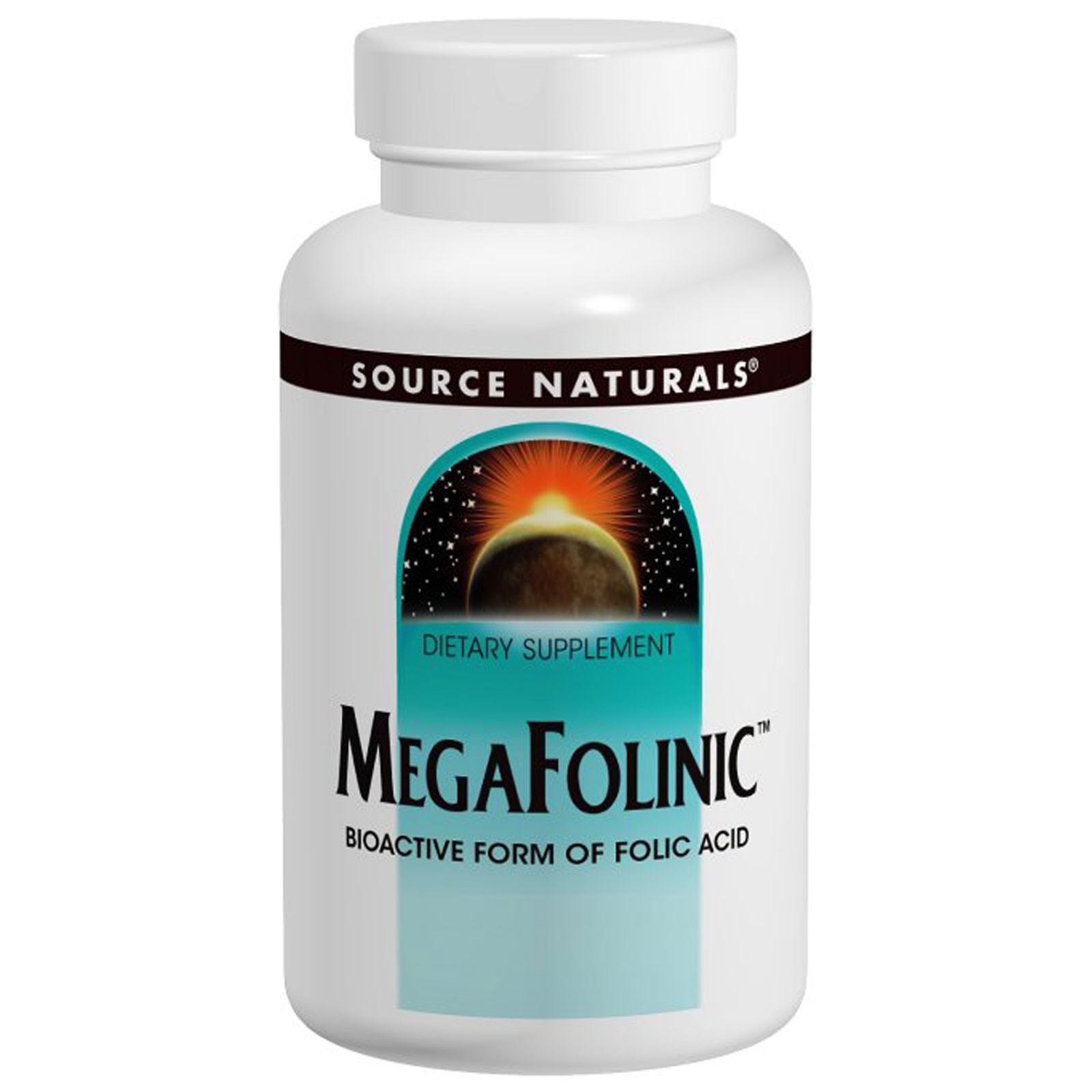 Source Naturals, Фолиевая кислота MegaFolinic (800 мкг, 120 таблеток)