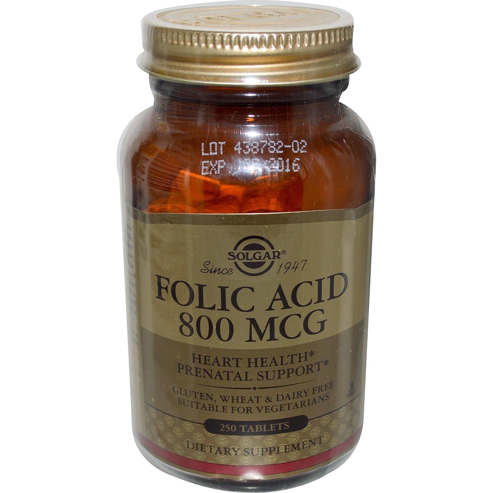Solgar, Фолиевая кислота (800 мкг, 250 таблеток)